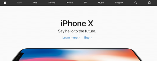 Apple's home page uses plenty of white space and groups related elements together