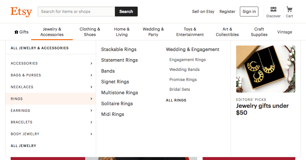 Inside Etsy's Jewelry & Accessories navigation dropdown