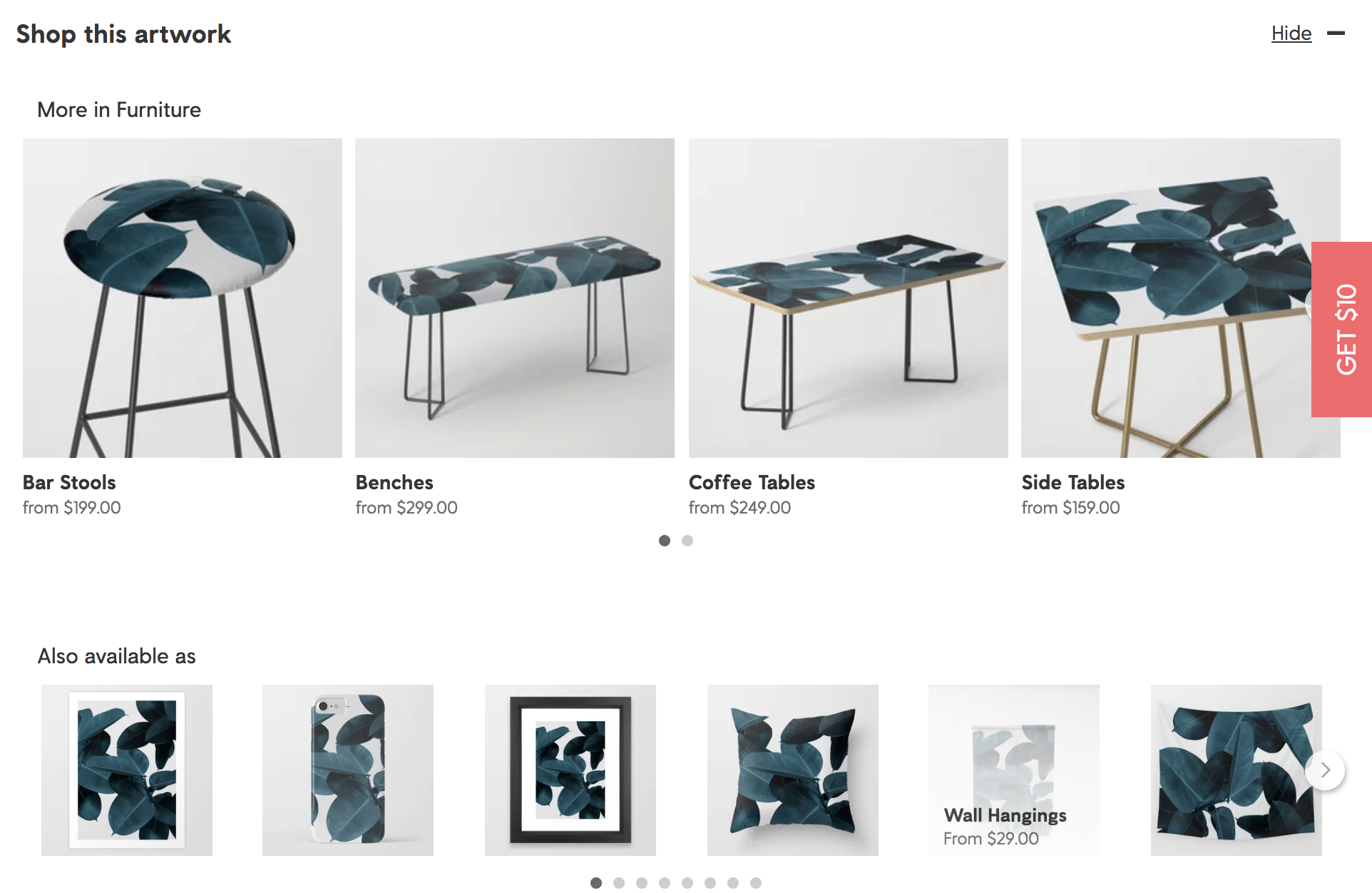"Society 6 ""Shop this artwork"" helps shoppers find similar styles."