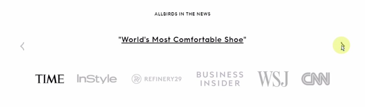 Allbirds displays endorsements from publications