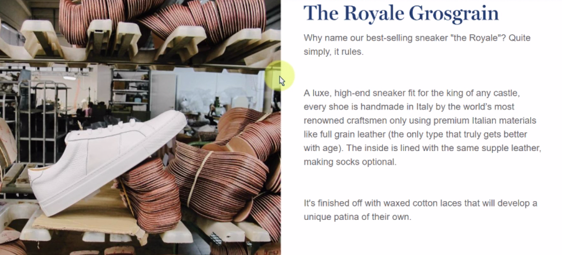 Persuasive blurb for the Royale models found all over the site