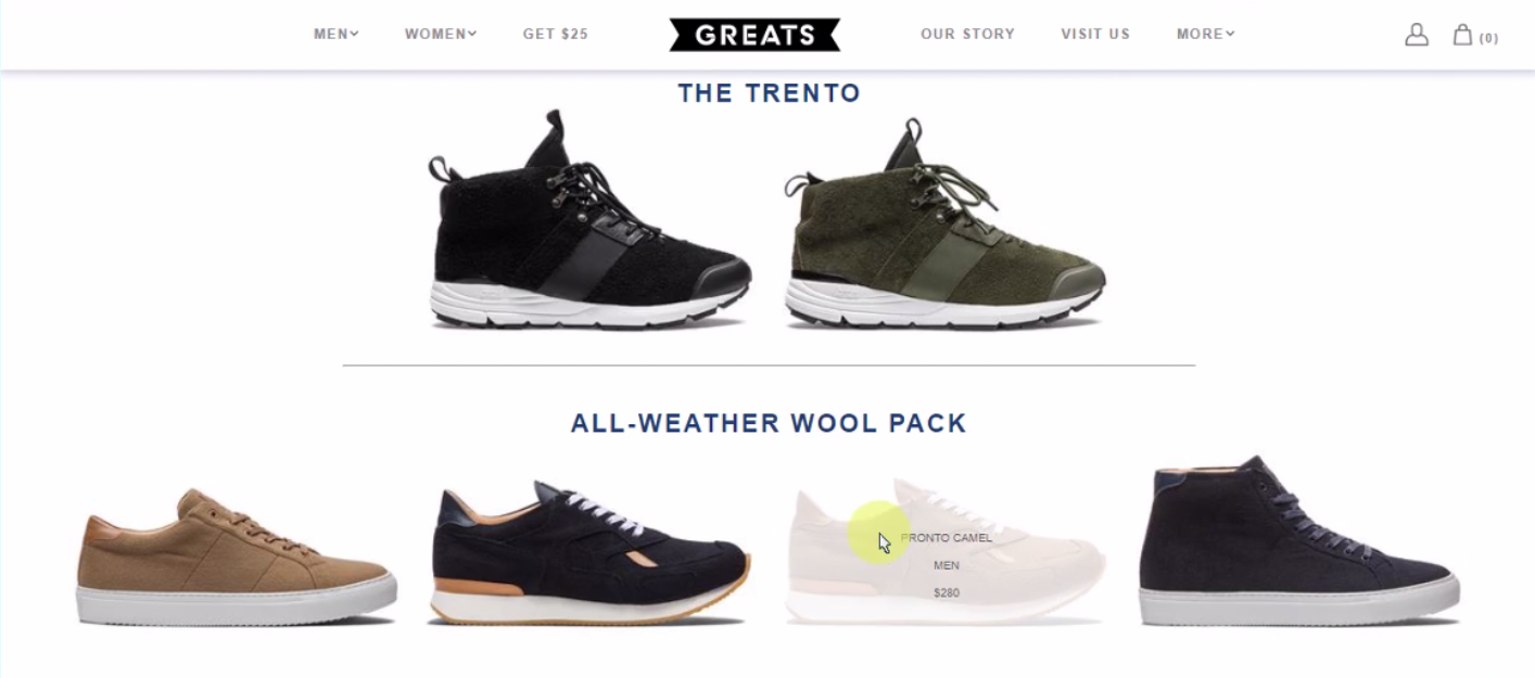 A user views the listing of all shoes on Greats