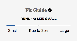 "Greats ""Fit Guide"" showing that the shoe ""runs 1/2 size small"""