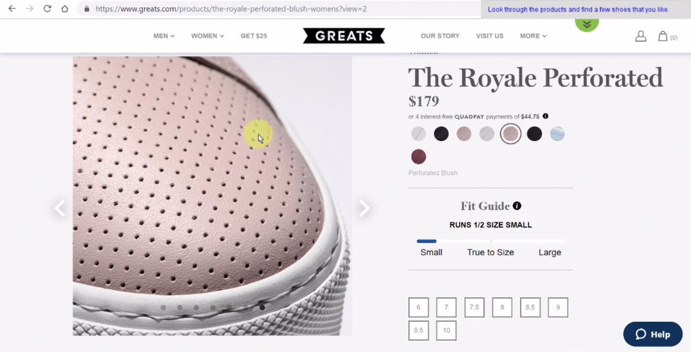 An extremely detailed view of a shoe on Greats