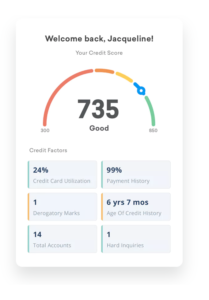 Playful illustrations are used to turn the credit score counter into a game-like experience