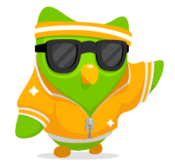 Duolingo's friendly owl mascot in a golden tracksuit