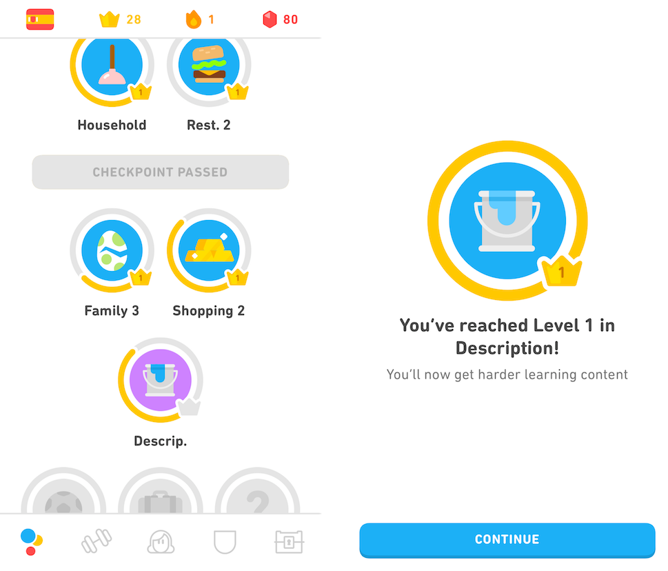 Duolingo's gamified vocab topics, levels, and checkpoints UX