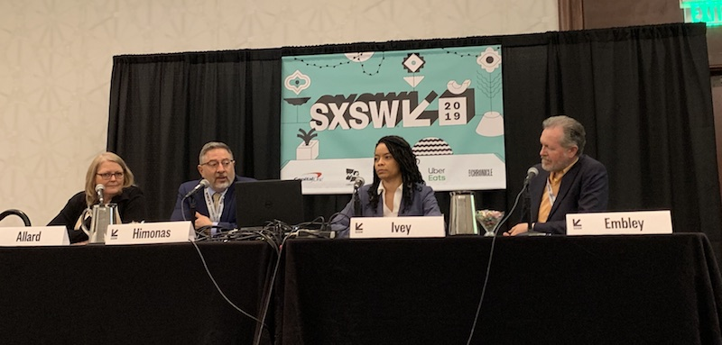 Presenters at the online courts SXSW talk