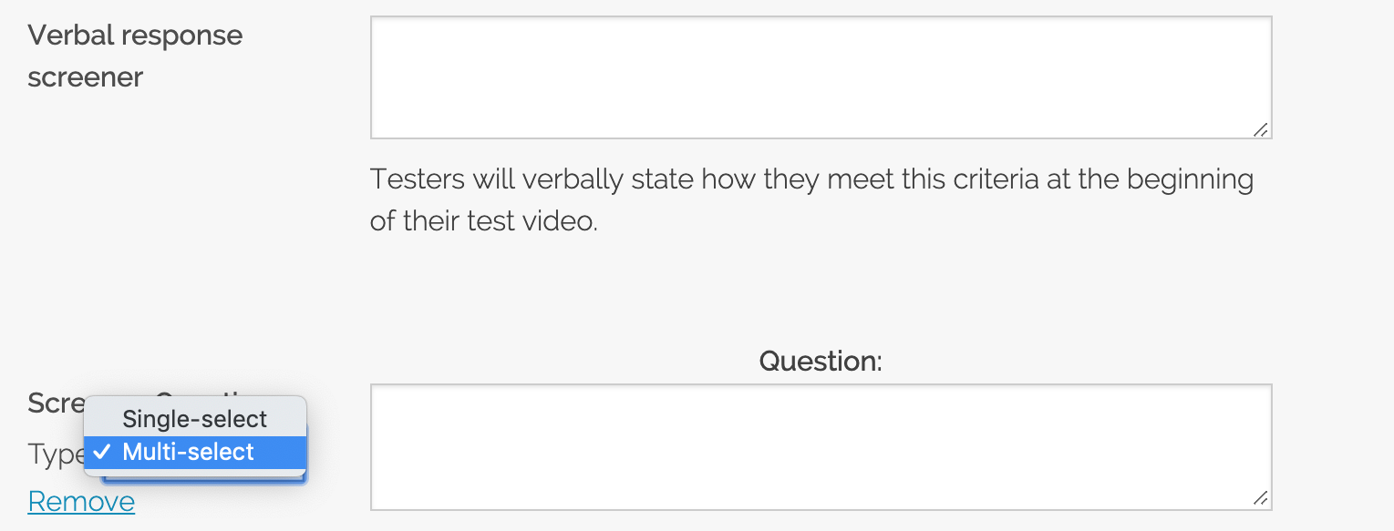 TryMyUI multi-select screener questions update enabling the feature example