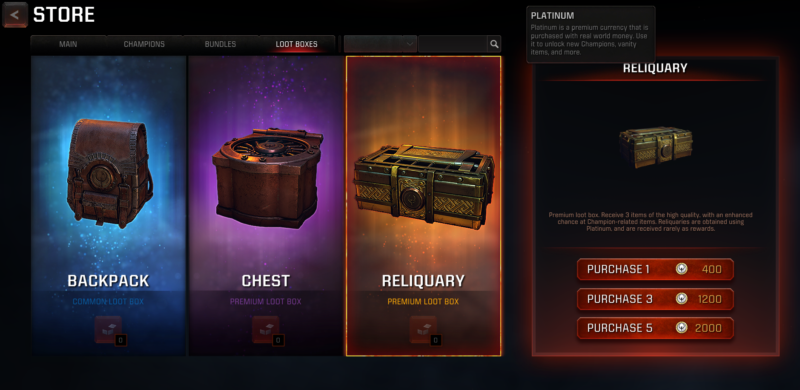 Loot box screen from a video game