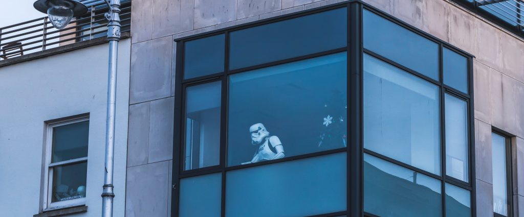 Storm trooper seen through a window