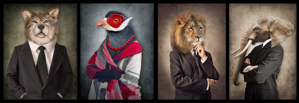 portraits of people with animal heads for trymyui blog