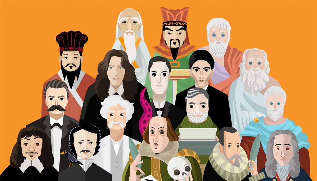 A fun illustration of several writers and philosophers across time and cultures