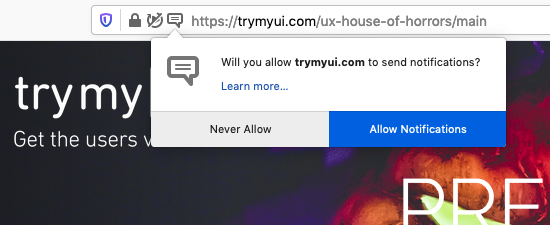 A popup asking to allow notifications from TryMyUI on the House of Horrors page