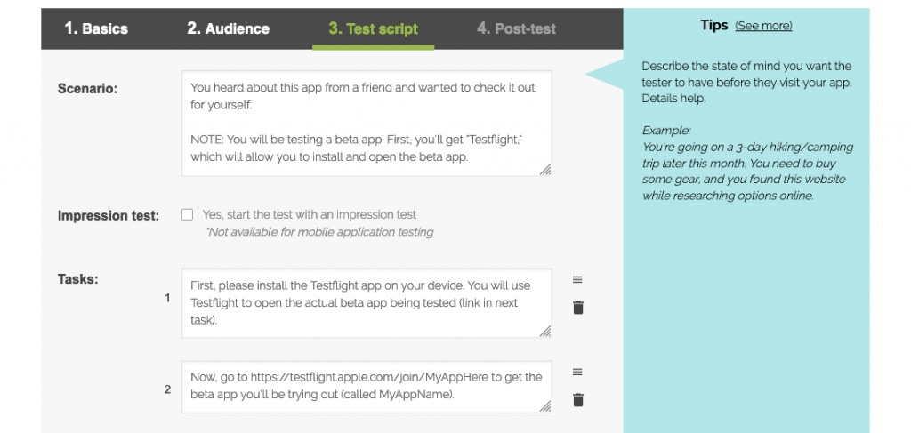 Screenshot from writing the scenario and tasks for a Testflight beta app test