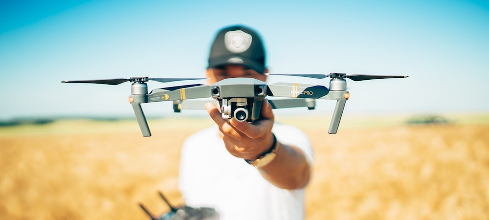 A drone gets ready to take off