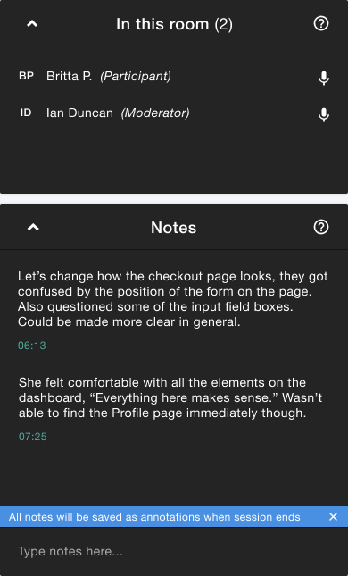View of the moderated test sidebar showing the 'In this room' and 'Notes' sections