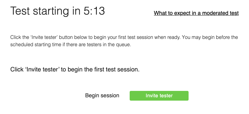 Screenshot of the invitation page for inviting a tester into the moderated session