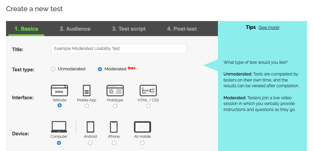 """Screenshot of Step 1 (""""Basics"""") of setting up a TryMyUI moderated usability test"""