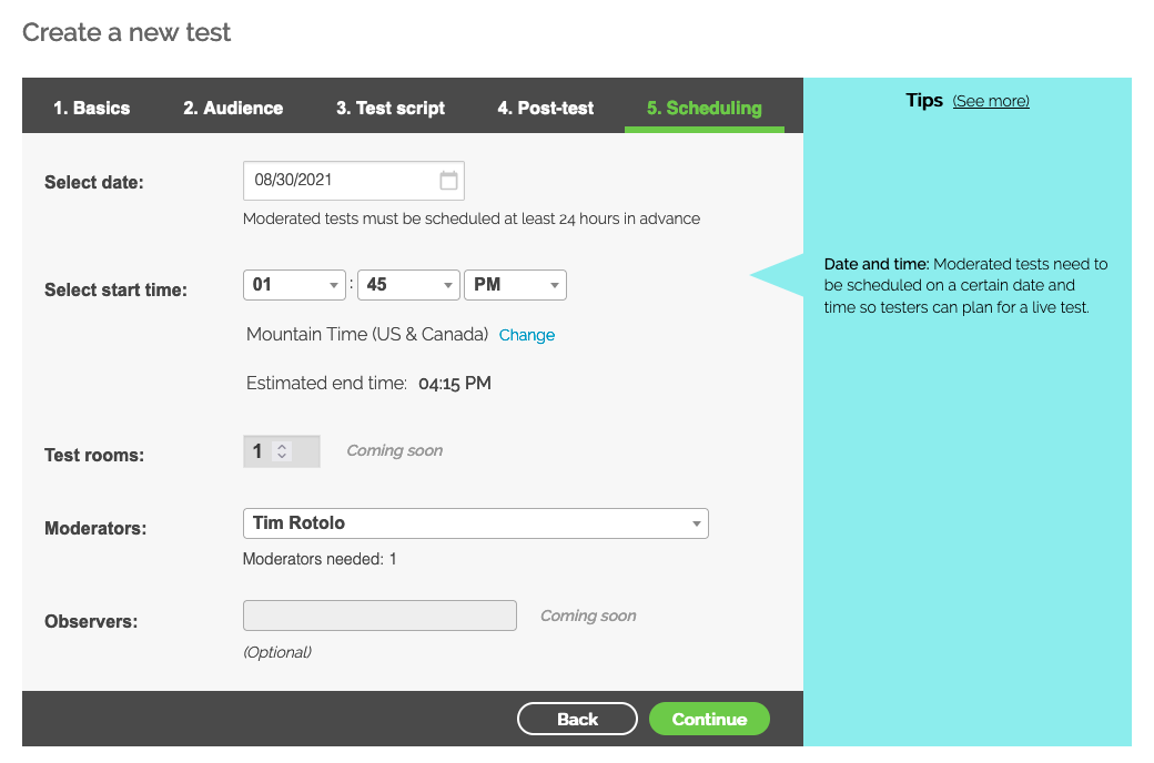 """Screenshot of Step 5 (""""Scheduling"""") of setting up a TryMyUI moderated usability test"""