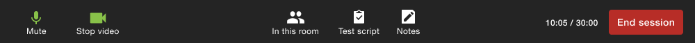 Screenshot of the control bar for the test moderator during a live call