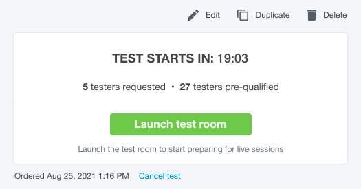 Screenshot of the upcoming test view when the scheduled time is approaching