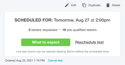 Screenshot of the upcoming test view, showing number of testers ordered and number pre-qualified